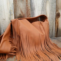 Rustic Rich Saddle Tan Fringed Leather Tote Style Purse