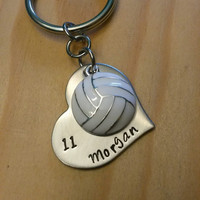 Hand Stamped Volleyball Keychain Volleyball Mom - Girls Volleyball Keychain - Personalized Volleyball Bag Charm