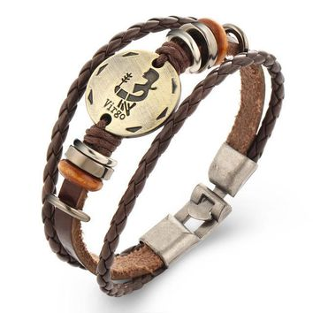 Zodiac Constellation Cowhide Bracelet with Wood Antique Bead Charm Bracelet