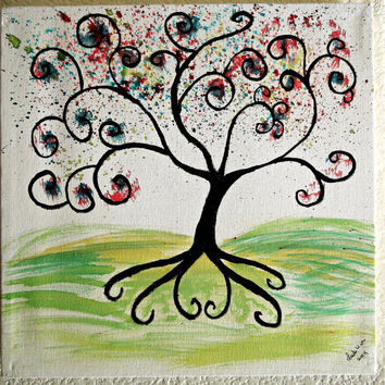 Swirled Tree Painting Original Water color and Acrylic 10x10 SFA