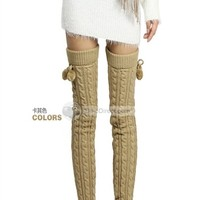 2013 Fall/winter warm knee Socks Women Korea cashmere knee pad foot boots twist knitting - DinoDirect.com