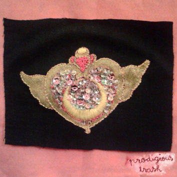 Sailor Moon Crisis Moon Pink Sequin Glitter Gold Holographic Hand Embroidered Patch ONE OF A KIND