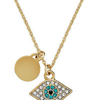 Juicy Couture Necklace, Gold-Tone Evil Eye Pendant Necklace - All Fashion Jewelry - Jewelry & Watches - Macy's