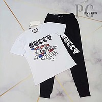 GUCCI Women Letter Print Short Sleeve Top Pants Two-Piece