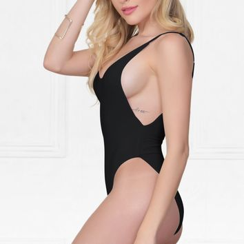Indie XO New Desire Black Spaghetti Strap Scoop Neck Cut Out Side One Piece Swimsuit
