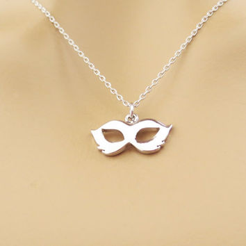 Modern, Gold, Silver, Mask, Necklace, Masquerade, Masked, Ball, Necklace, Minimal, Dainty, Necklace, Gift, Accessory, Jewelry