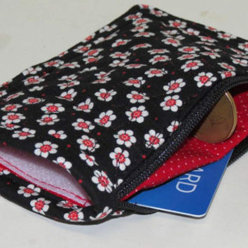 Quilted Change Purse, Card Holder with Side Pockets, Zippered, Security Wallet