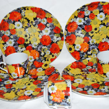 Snack Set with 4 Plates and Cups  Flower Power . Dinneware Orange And Black Vintage Serving Dish