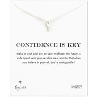 confidence is key cute key necklace, sterling silver, 16 inch