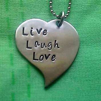 Live Laugh Love Personalized Hand Stamped Heart Necklace - Stainless Steel