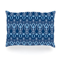 "Julia Grifol ""Blue Deco"" Aqua Pattern Oblong Pillow"