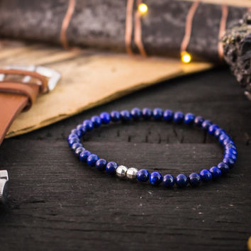 4mm - Blue Lapis lazuli beaded stretchy bracelet with sterling silver beads, made to order yoga bracelet, mens bracelet, womens bracelet