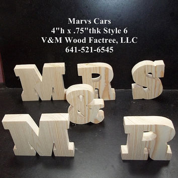 MR & MRS Wedding Reception Stand Alone Wood Letters Unfinished Style 6 Stk No. M-6-.75-4-SA