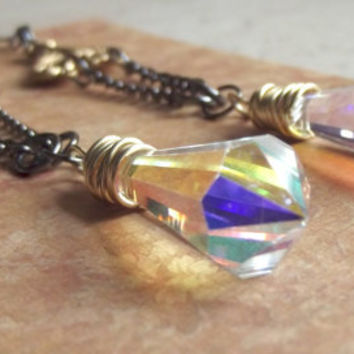 Long Crystal Earrings:  Vintage Art Nouveau Brass, Wire Wrapped Prism Points, Gunmetal Chain Dangle
