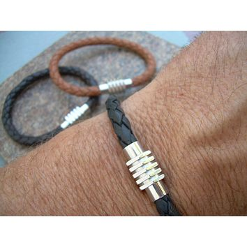 Mens Leather Bracelet with Sprocket Style Stainless Steel Magnetic Clasp, Mens Bracelet, Mens Jewelry, Mens Gift, Groomsmen, Gift for him