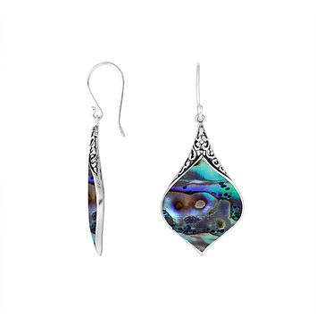 AE-1073-AB Sterling Silver Earring With Abalone Shell