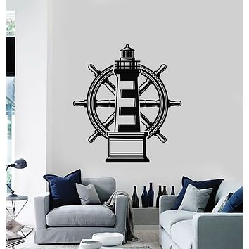 Vinyl Wall Decal Lighthouse Nautical Marine Beach Sea Steering Wheel Stickers Mural (g2718)