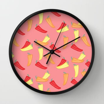 Hot Chili Peppers Pattern on Soft Red Wall Clock by CandyBoxDigital