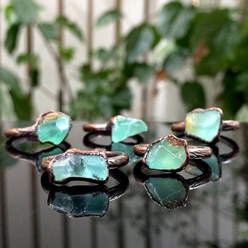 Peruvian Opal ring Andean opal ring Blue Opal ring Raw gemstone ring Crystal ring Raw stone ring Copper ring Bohemian jewelry Copper jewelry