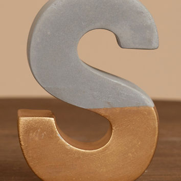 Altar'd State Cement Gold Dipped Letter - S