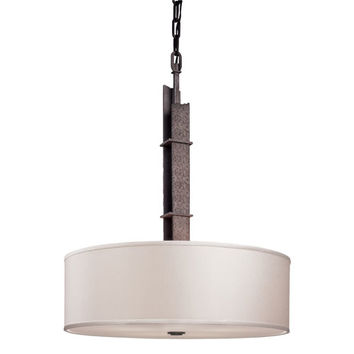 Troy F2618 Sapporo Silver Four-Light Pendant with Hardback Linen Shade