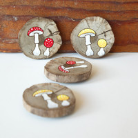Wood burned and painted mushroom magnet. Rustic wooden red and white mushroom Christmas ornament. Fly Agaric. Amanita Muscaria