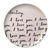(Set of 4) Melamine Plates ~ Darling I Love You