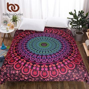 BeddingOutlet Removable Duvet Cover Mandala Bedspreads Bohemian Printed Bedding Coverlets Boho Quilt Cover 1-Piece High Quality