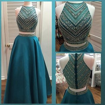 Luxury Crystal Beadings Two Pieces Prom Dresses Long Floor Length 2 Pieces Prom Gowns Sparkly Teal B
