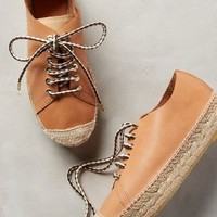 Hoss Intropia Laced Espadrille Flatforms Tan