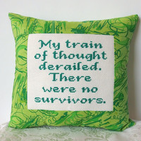 $20.00 Mini Pillow in Green  My Train of Thought Derailed by NeedleNosey