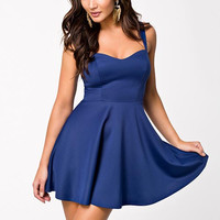 Blue Strapped Skater Dress