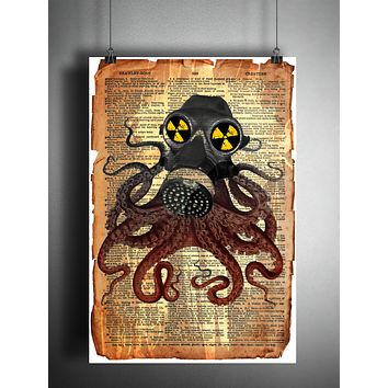 Octopus with gas mask, victorian steampunk, lovecraft octopus, dictionary page art print