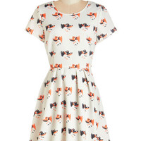 ModCloth Critters Short Sleeves A-line What's the Catch? Dress