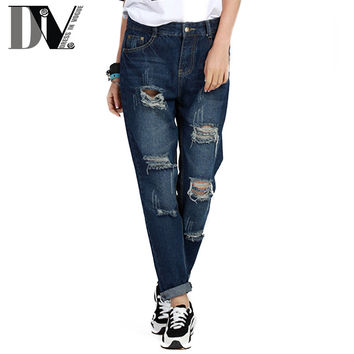 DIV New Arrival Ripped Harem Pants Women Stripe Double Pocket Rockabilly Drop-crotch Pants Rolling-up Loose Long Denim Jeans