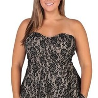 Plus Size Strapless Lace Peplum with Taupe Lining and Back Zipper