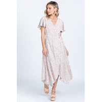 Taupe White Spotted Hi Low Wrap Dress