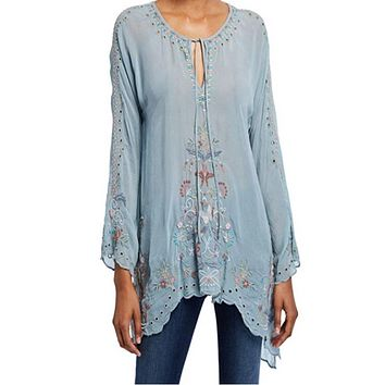 Johnny Was Lena Tunic~Sky Blue