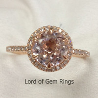 Round Morganite Engagement Ring Pave Diamond Wedding 14K Rose Gold 8mm Six Prongs