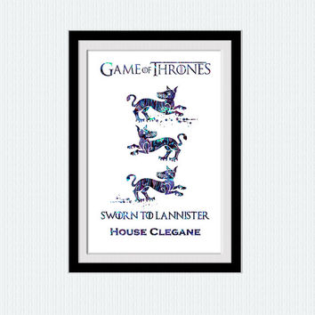 Game of Thrones art poster House Clegane watercolor print Home decoration Game of Thrones decor Kids room wall art Nursery room decor W615