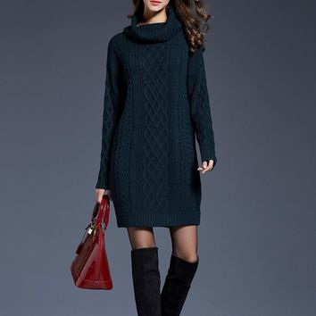 Solid High Neck Cable Knit Sweater Dress