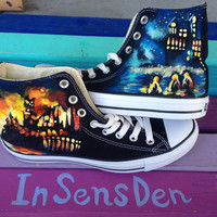 Harry potter castle night scene canvas shoes