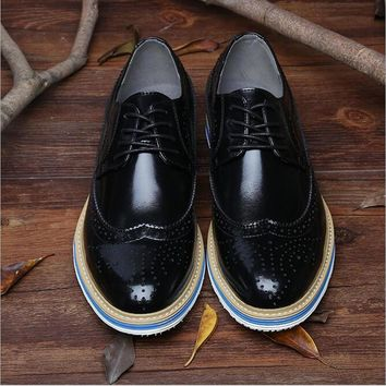 Genuine Leather Men's Shoes Oxfords Vintage