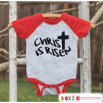 Kids Easter Outfit - Christ is Risen Shirt or Onepiece - Boys Religious Easter Shirts - Baby, Toddler, Youth - Kids Cross Easter Shirt - Red