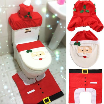 Happy Santa Toilet Seat Cover And Rug Bathroom Set 3 PCS Christmas Decorations Home Decorates SV008463