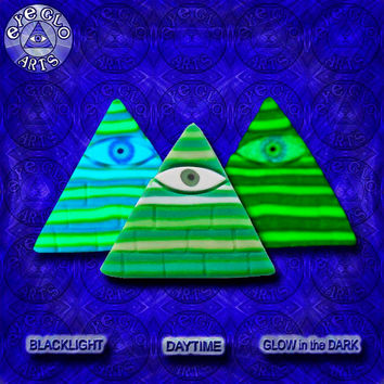 EyeGloArts Green striped Illuminati Pyramid Glow in the Dark Pendant American Made Black light jewelry