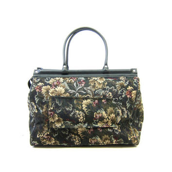 Vintage 80s Floral Suitcase Large Weekender Overnight Bag Tapestry Carry On Duffle Bag Double Strap Suitcase Green Boho Travel Shoulder Tote