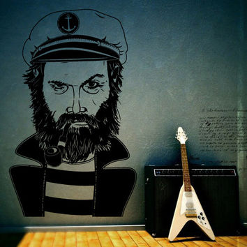 Wall Decor Vinyl Sticker Room Decal  Sailor Hearty Ocean Sea Tobacco pipe Anchor Man Hipster Portrait (s28)