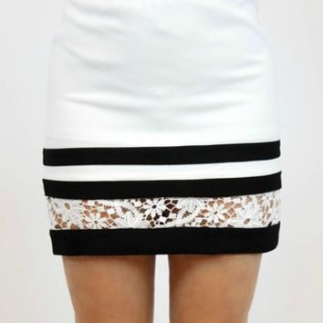 Flirty Floral Skirt in White | Very J