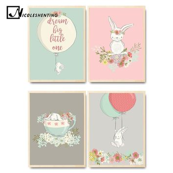 Cute Rabbit Balloon Poster Nursery Wall Art Canvas Print Cartoon Nordic Style Painting Picture Children Living Room Decoration
